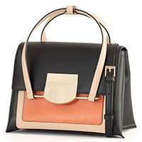 Черная сумка-портфель Cromia Romy с коричневыми вставками, фото