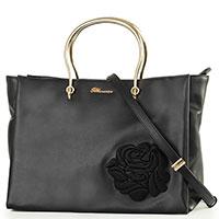 Черная сумка-тоут Blumarine Cécile с розой, фото