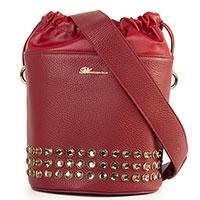Красная сумка-мешок Blumarine Marion с декором-стразами, фото