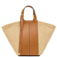 Коричневая сумка Gianni Chiarini Diletta из кожи и соломки, фото