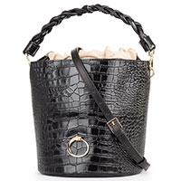 Черная сумка-ведро Cavalli Class Kylie Glam с тиснением под рептилию, фото