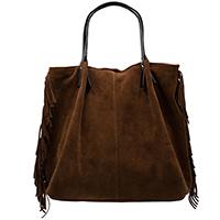 Замшевая сумка Ripani коричневого цвета с бахромой, фото