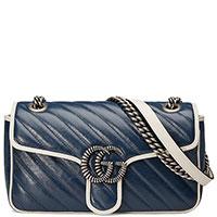 Сумка Gucci синяя с металлическим декором, фото