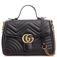 Черная сумка Gucci Marmont с фигурным клапаном, фото
