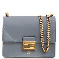 Голубая сумка Fendi Kan U на цепочке, фото