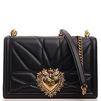 Черная сумка Dolce&Gabbana Devotion со стеганым узором, фото