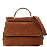 Замшевая сумка Dolce&Gabbana Sicily Soft коричневого цвета, фото