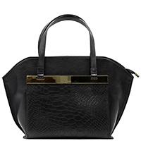 Черная сумка Ripani с вставкой из тисненной кожи, фото