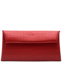 Красный клатч Ripani Pochette с тиснением кроко, фото
