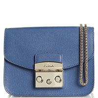 Маленькая голубая сумка Furla Metropolis на цепочке, фото