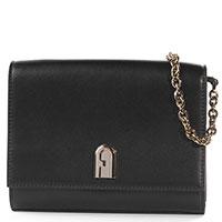 Черная сумка Furla на цепочке, фото