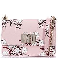 Сумка Furla из кожи розового цвета с цветочным принтом, фото