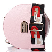 Круглая сумка Furla розового цвета на широком ремне, фото