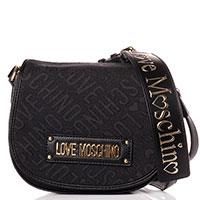 Флеп-бег Love Moschino черного цвета на широком ремне, фото