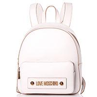 Белый рюкзак Love Moschino с металлическим логотипом, фото