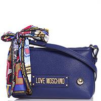 Синяя сумка Love Moschino с декором-бантом, фото