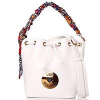 Сумка-мешок Love Moschino в белом цвете с платком, фото