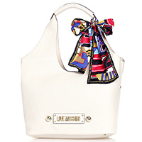 Светло-бежевая сумка-шоппер Love Moschino со съемным декором, фото