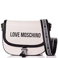Белая сумка  Love Moschino с черной окантовкой, фото