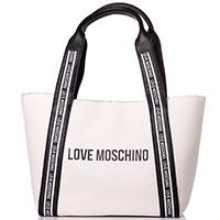 Белая сумка-тоут Love Moschino с контрастными ручками, фото