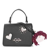 Маленькая черная сумка Love Moschino с золотистыми сердцами, фото