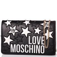 Черная сумка Love Moschino с белыми звездами, фото