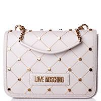 Белая сумка Love Moschino с заклепками, фото