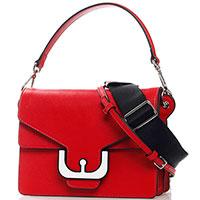 Красная сумка-кроссбоди Coccinelle Ambrin Medium с декором на клапане, фото
