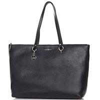 Темно-синяя сумка Coccinelle Alpha из текстурной кожи, фото