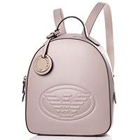 Женский рюкзак Emporio Armani в бежевом цвете с тиснением, фото