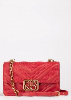 Стеганая сумка Pinko Logo Mini Icon Chevronne красного цвета, фото