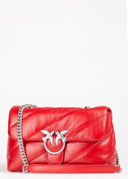 Красная сумка Pinko Love Classic Puff Maxi Quilt на цепочке, фото