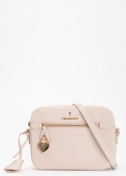 Бежевая сумка Trussardi с фирменным узором, фото