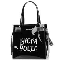 Сума-шоппер Tosca Blu черного цвета с надписью, фото