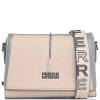 Бежевая сумка-кроссбоди Ferre Collezioni Amur с серой вставкой, фото