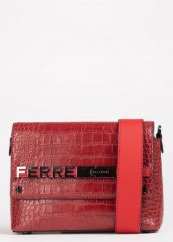 Сумка Ferre красного цвета на широком ремне, фото