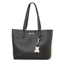 Черная сумка-тоут Tosca Blu с мехом, фото