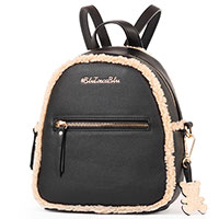Черный рюкзак Tosca Blu с декором-мехом, фото
