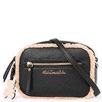 Черная сумка Tosca Blu с бежевым мехом, фото