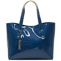 Синяя сумка-шоппер Ripani из лаковой кожи, фото