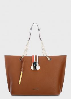 Коричневая сумка-тоут Cromia Maeva с цепочкой, фото