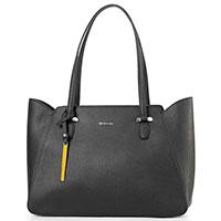 Черная сумка-тоут Cromia из черной кожи с тиснением сафьяно, фото