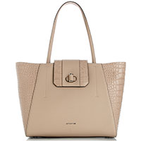 Бежевая сумка-тоут Cromia Mali с тиснением кроко, фото