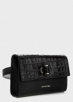 Черная поясная сумка Cromia Mali с тиснением, фото
