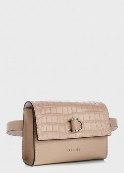 Бежевая поясная сумка Cromia Mali с тиснением кроко, фото