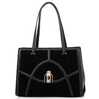 Черная сумка Cromia из кожи и замши, фото