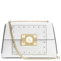 Белая сумка Cromia Mystic с тиснением на клапане, фото