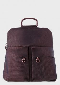 Бордовый текстильный рюкзак Mandarina Duck MD с карманами, фото