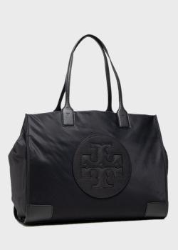 Черная сумка-шоппер Tory Burch Ella с логотипом, фото