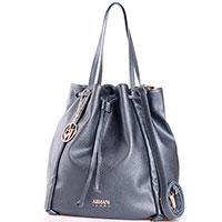 Синяя сумка-мешок Armani Jeans с металлическим блеском, фото